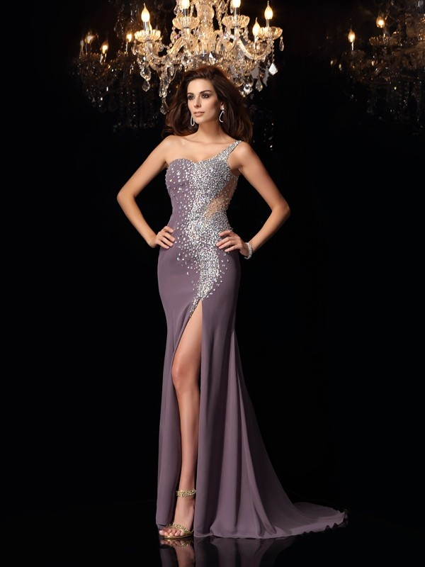 Mermaid One-Shoulder Rhinestone Sleeveless Long Chiffon Dresses