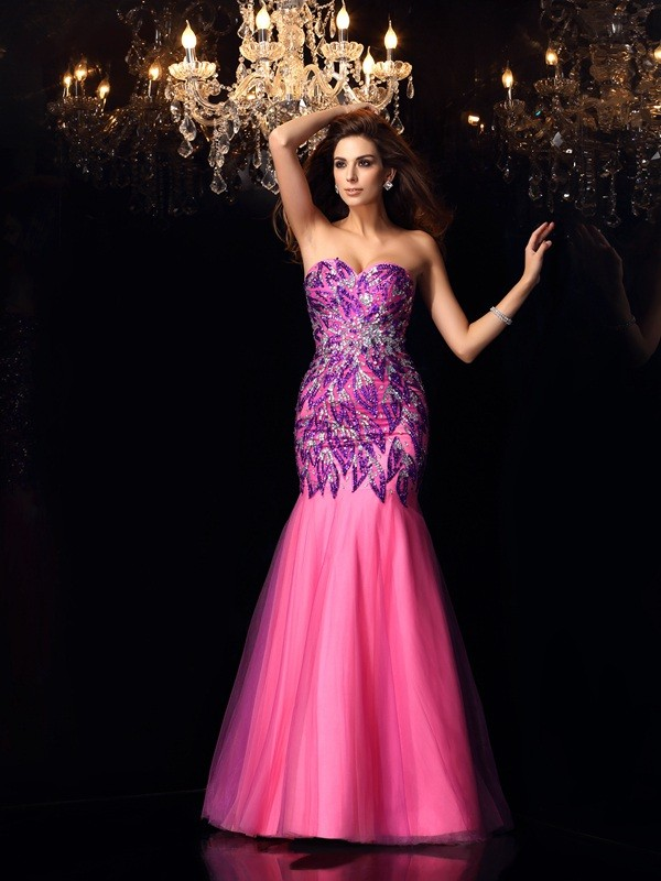 Mermaid Sweetheart Beading Sleeveless Long Net Dresses