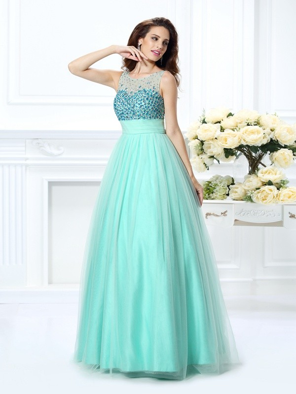 Ball Gown Bateau Beading Sleeveless Long Chiffon Debs Dress