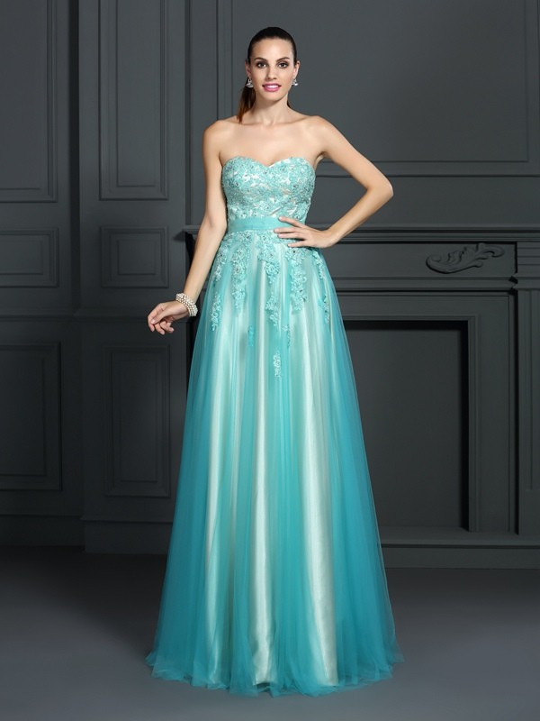 A-Line Sweetheart Applique Sleeveless Long Elastic Woven Satin Dresses