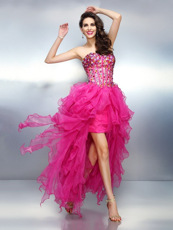 A-Line Sweetheart Rhinestone Sleeveless High Low Organza Cocktail Dresses