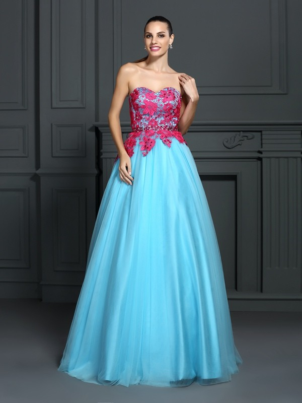 Ball Gown Sweetheart Lace Sleeveless Long Satin Debs Dress
