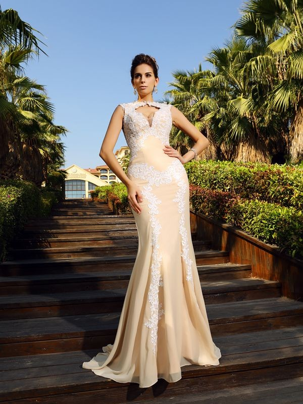 Sheath High Neck Applique Sleeveless Long Chiffon Dresses