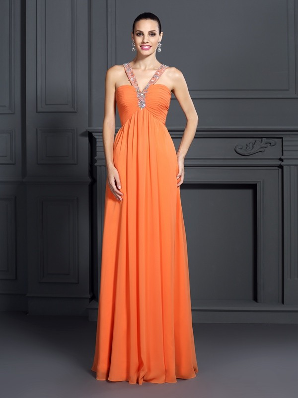A-Line Halter Beading Sleeveless Long Chiffon Dresses