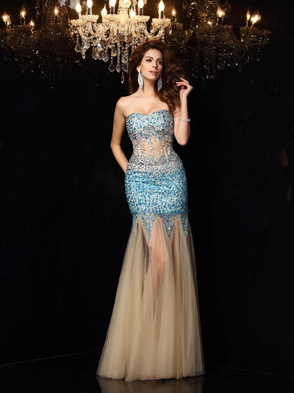 Sheath Sweetheart Beading Sleeveless Long Net Dresses