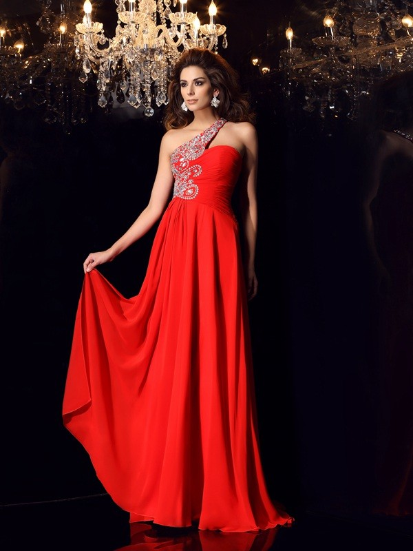 A-Line One-Shoulder Beading Sleeveless Long Chiffon Dresses