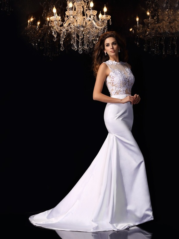 Mermaid High Neck Applique Sleeveless Long Satin Wedding Dresses