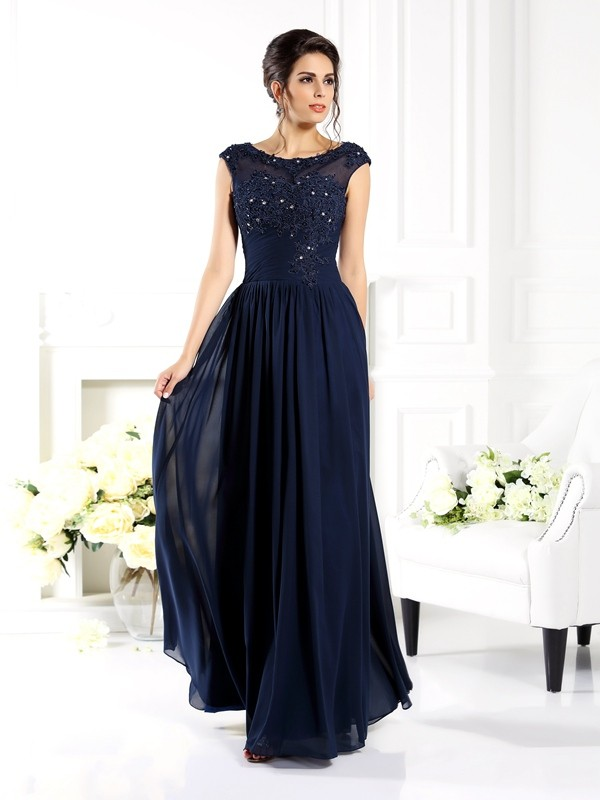 A-Line Scoop Beading Sleeveless Long Chiffon Dresses