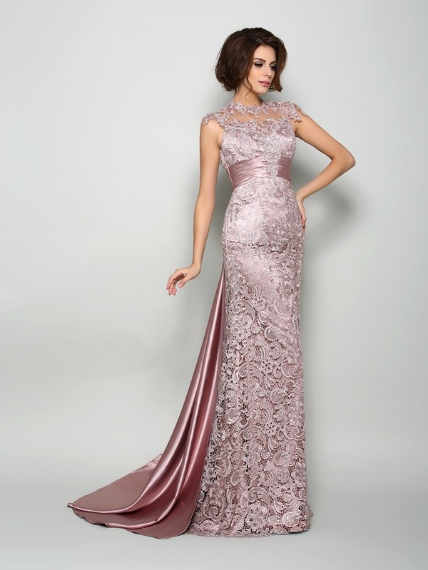 Stunning A-Line High Neck Elastic Woven Satin Sleeveless Long Dresses