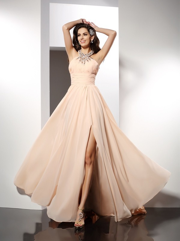 A-Line Jewel Ruffles Sleeveless Long Chiffon Dresses