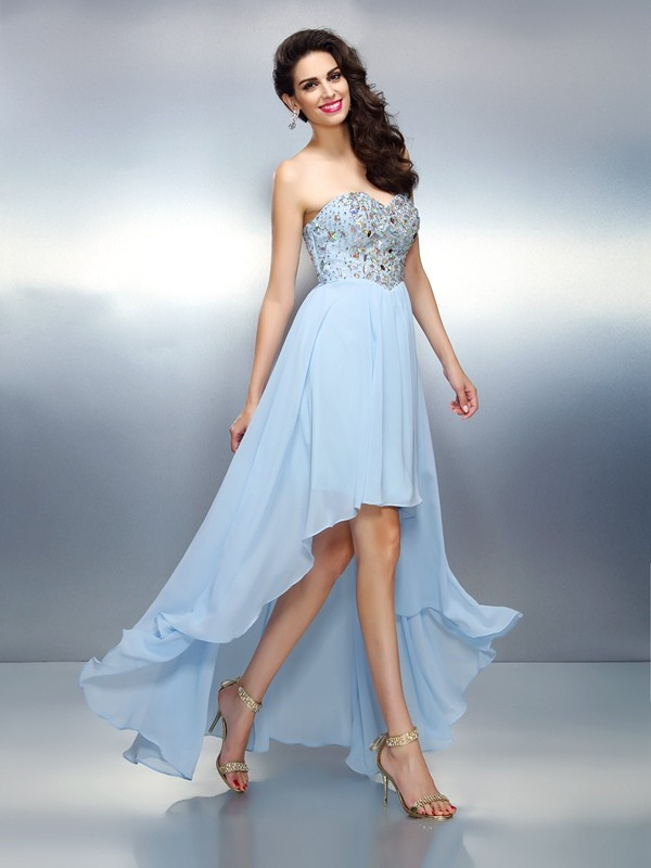 A-Line Sweetheart Ruffles Sleeveless High Low Chiffon Cocktail Dresses