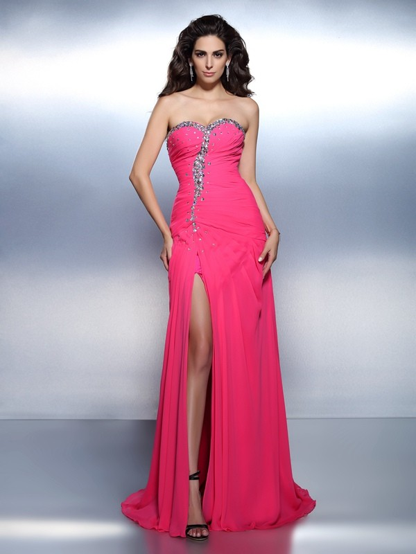A-Line Sweetheart Beading Sleeveless Long Chiffon Dresses
