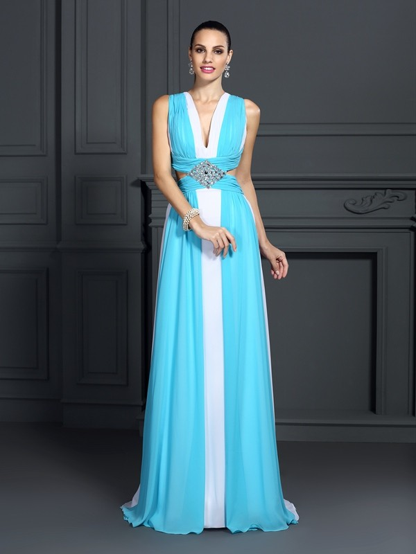 A-Line Halter Ruffles Sleeveless Long Chiffon Dresses