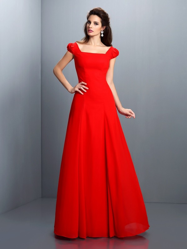 A-Line Bateau Short Sleeves Long Satin Dresses