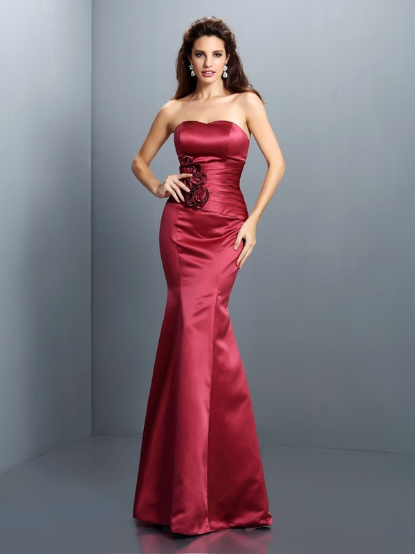 Mermaid Strapless Hand-Made Flower Sleeveless Long Satin Dresses