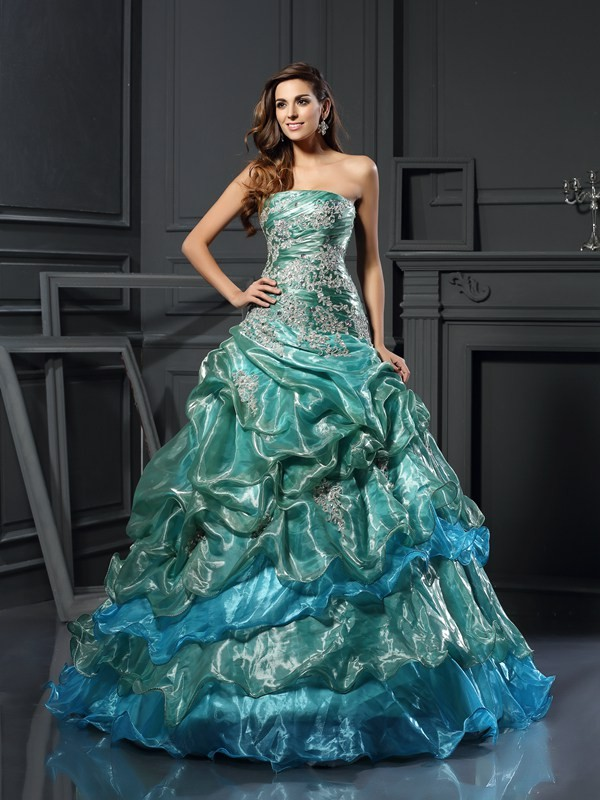 Ball Gown Sweetheart Applique Sleeveless Long Tulle Debs Dress