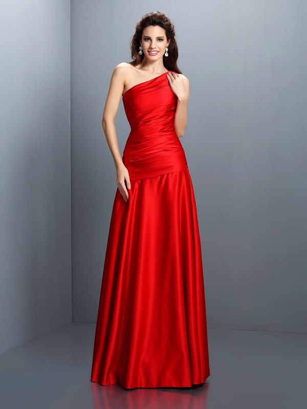 A-Line One-Shoulder Pleats Sleeveless Long Satin Dresses