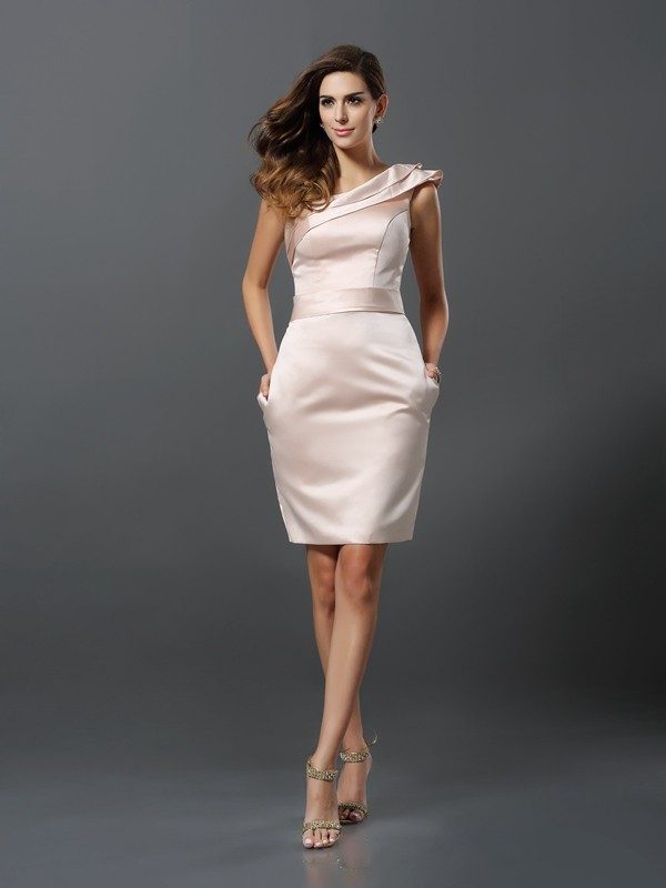 Sheath One-Shoulder Sleeveless Short Satin Cocktail Dresses