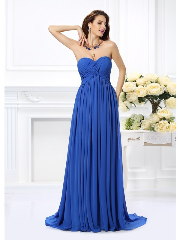 A-Line Sweetheart Ruched Sleeveless Long Chiffon Dresses
