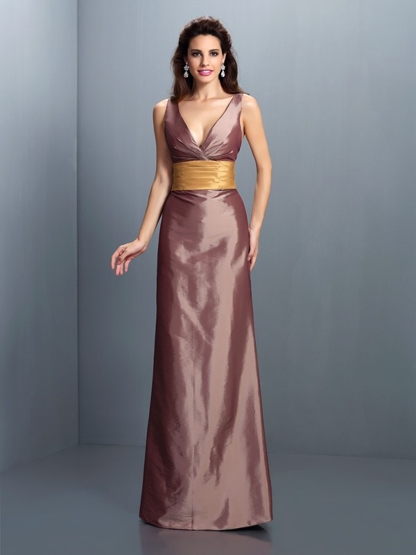 Sheath V-neck Pleats Sleeveless Long Taffeta Dresses