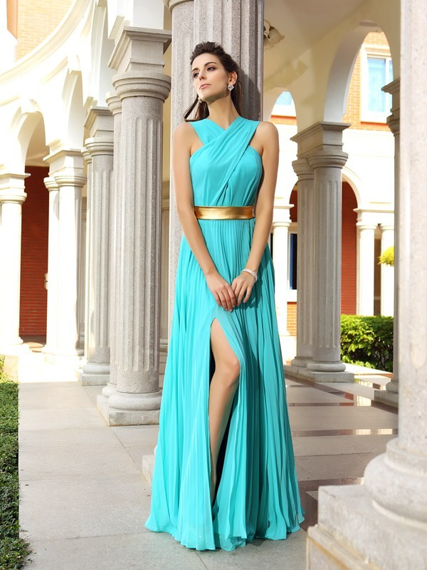A-Line Pleats Sleeveless Long Chiffon Dresses