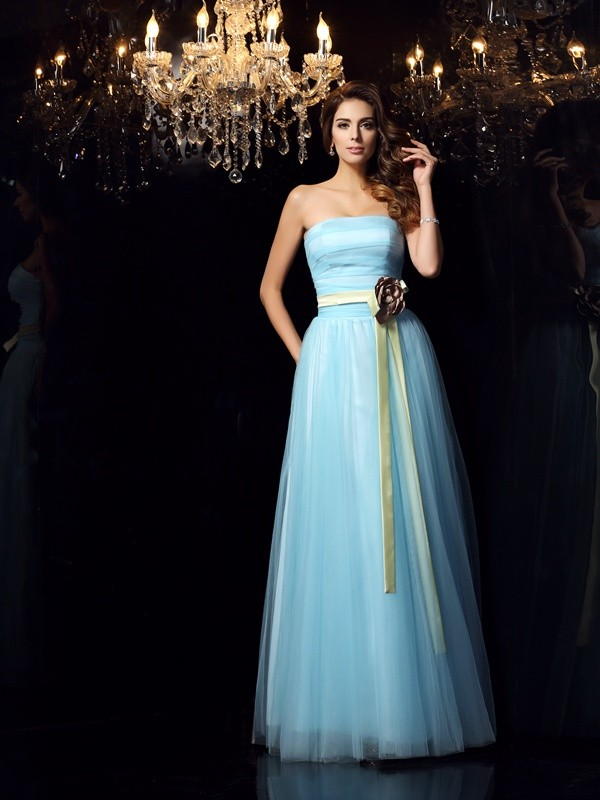 Ball Gown Strapless Sash/Ribbon/Belt Sleeveless Long Satin Debs Dress