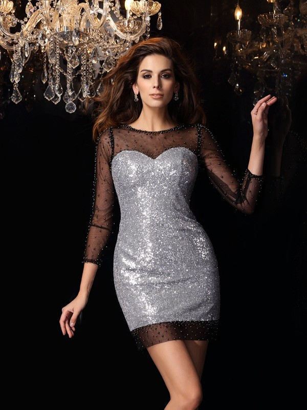 Sheath Scoop Beading 3/4 Sleeves Short Sequins Cocktail Dresses