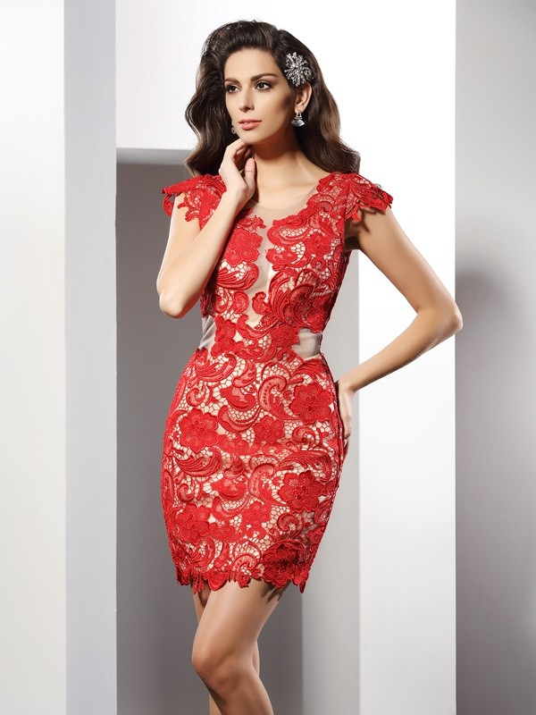 Sheath Scoop Lace Sleeveless Short Elastic Woven Satin Cocktail Dresses