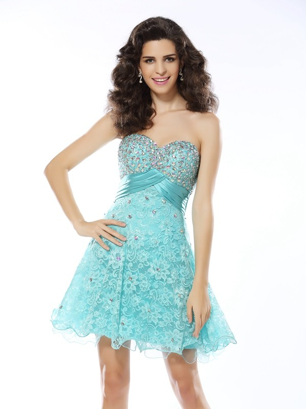 A-Line Sweetheart Ruffles Sleeveless Short Satin Cocktail Dresses