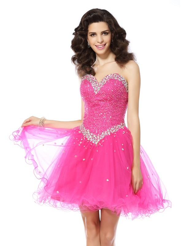 A-Line Sweetheart Beading Sleeveless Short Satin Cocktail Dresses