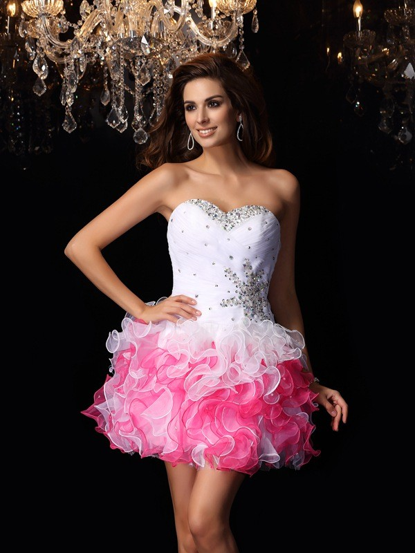 A-Line Sweetheart Ruffles Sleeveless Short Organza Cocktail Dresses