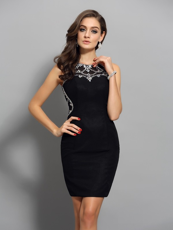 Sheath Scoop Beading Sleeveless Short Chiffon Cocktail Dresses