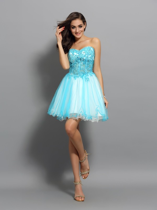 A-Line Sweetheart Applique Beading Sleeveless Short Satin Cocktail Dresses