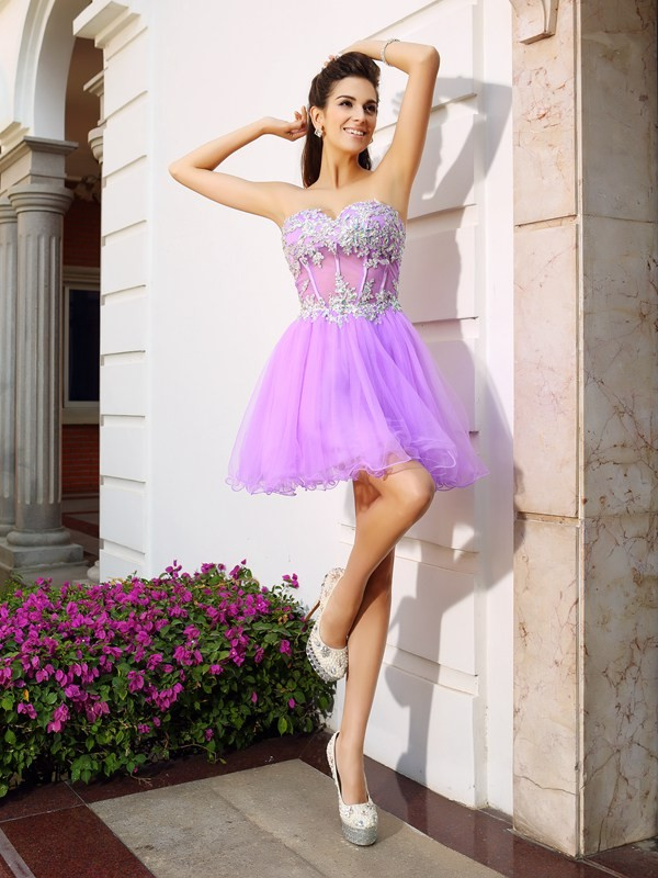 A-Line Sweetheart Beading Applique Sleeveless Short Organza Cocktail Dresses