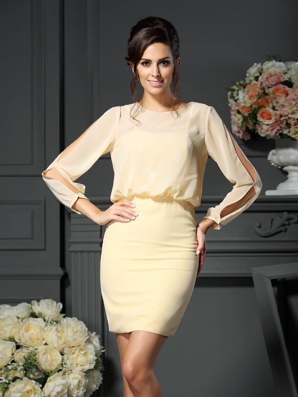 Sheath Scoop Long Sleeves Short Chiffon Dresses