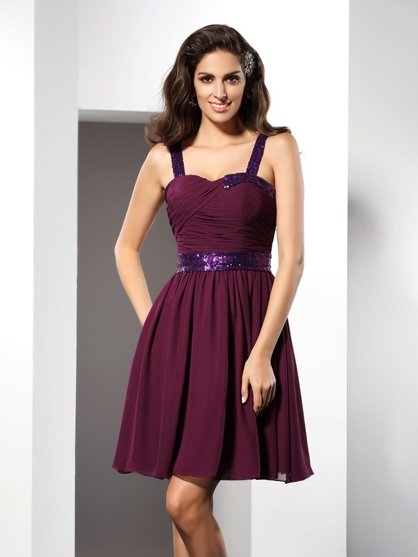 A-Line Straps Ruched Sleeveless Short Chiffon Cocktail Dresses