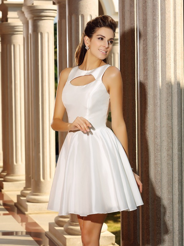 A-Line High Neck Sleeveless Short Satin Cocktail Dresses