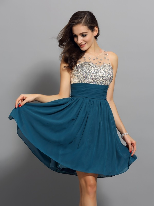 A-Line Bateau Rhinestone Sleeveless Short Chiffon Cocktail Dresses
