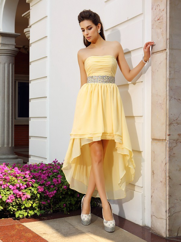 A-Line Strapless Beading Sleeveless High Low Chiffon Cocktail Dresses