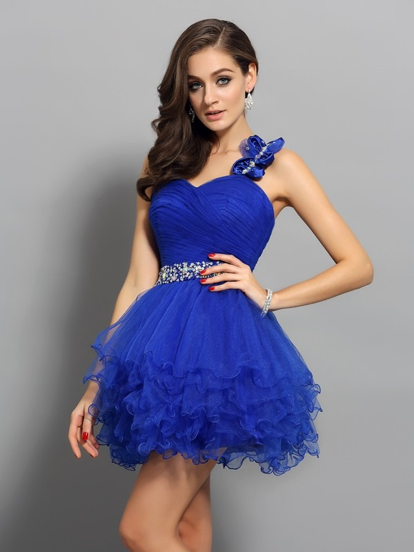 A-Line One-Shoulder Beading Sleeveless Short Organza Cocktail Dresses