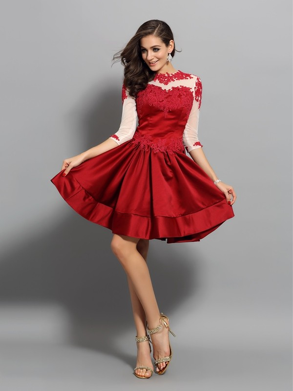 A-Line High Neck Applique 1/2 Sleeves Short Satin Cocktail Dresses