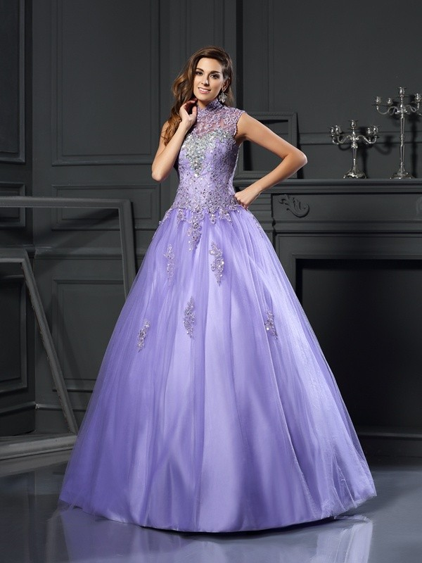 Ball Gown High Neck Beading Sleeveless Long Net Debs Dress
