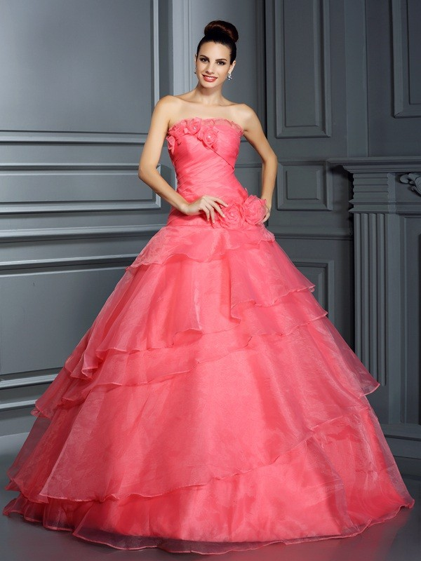 Ball Gown Strapless Hand-Made Flower Sleeveless Long Organza Debs Dress