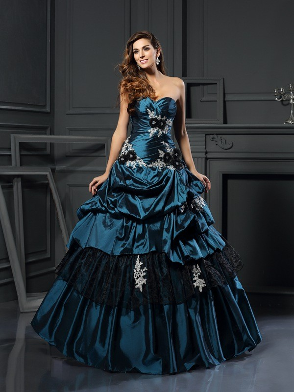 Ball Gown Sweetheart Beading Sleeveless Long Taffeta Debs Dress