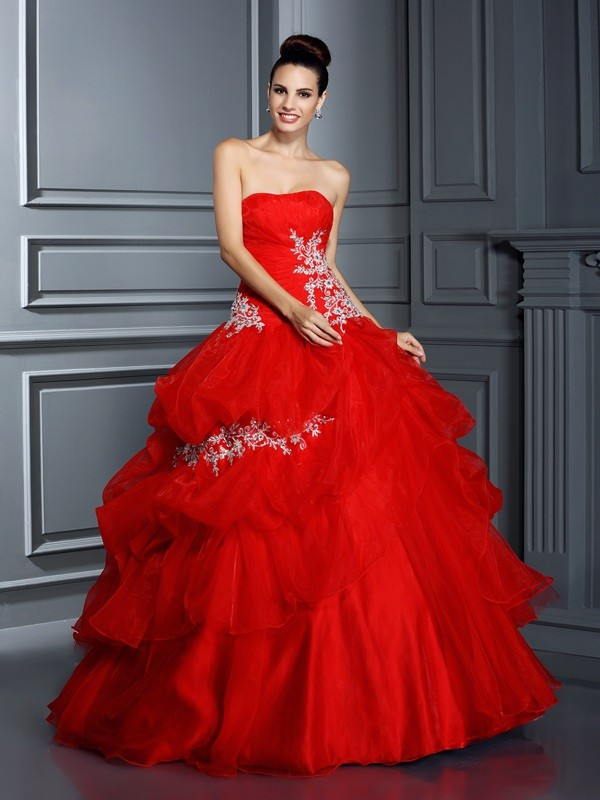 Ball Gown Strapless Applique Sleeveless Long Organza Debs Dress