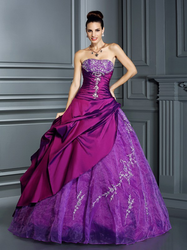 Ball Gown Strapless Applique Sleeveless Long Taffeta Debs Dress
