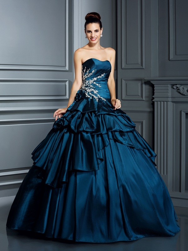 Ball Gown Strapless Beading Sleeveless Long Taffeta Debs Dress