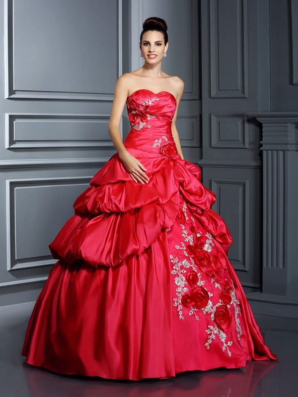 Ball Gown Sweetheart Hand-Made Flower Sleeveless Long Taffeta Debs Dress