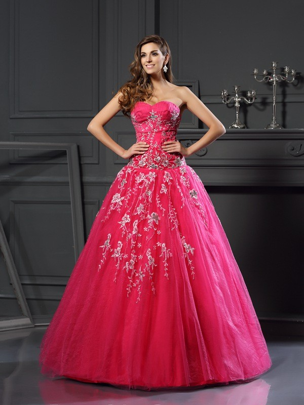 Ball Gown Sweetheart Applique Sleeveless Long Net Debs Dress