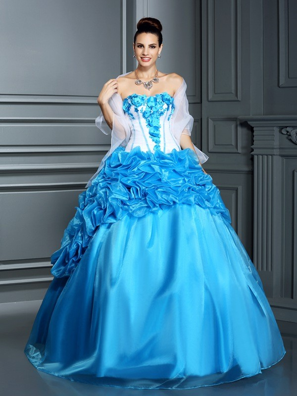 Ball Gown Sweetheart Ruffles Sleeveless Long Satin Debs Dress
